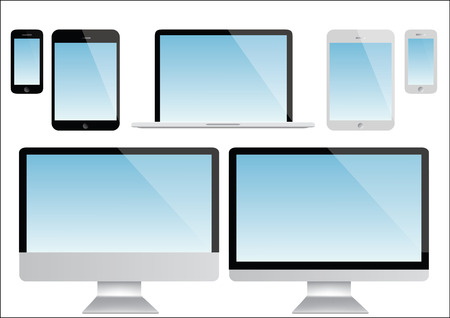 computer screen: Computer screen, laptop, tablet and smartphone