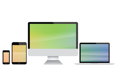 note pc: Computer screen, laptop, tablet and smart phone illustration with colored display Stock Photo