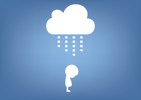 bad luck: cloud raining on person illustration