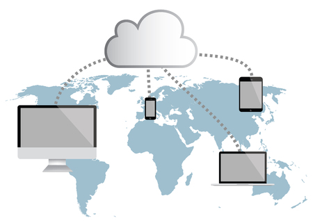 pc: Cloud Computing infographic vector illustration. world map, tablet, smartphone and notebook computer Illustration
