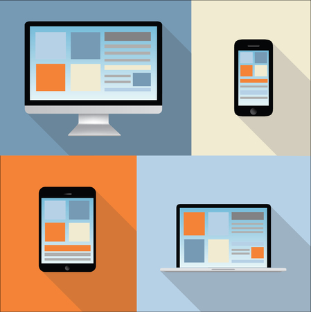 illustration collection: computer, tablet, mobile phone, laptop illustration - collection - colorful background