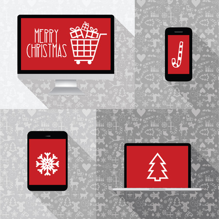 laptop screen: modern computer, phone, tablet, laptop collection with red screen and christmas icons - christmas icon collection Illustration