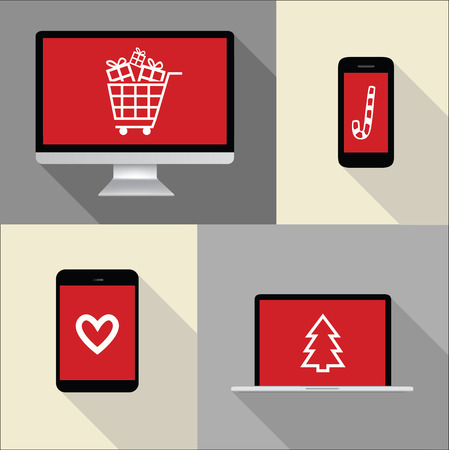 caddy: Computer, phone, laptop, notebook illustration with christmas shopping icons on red screen