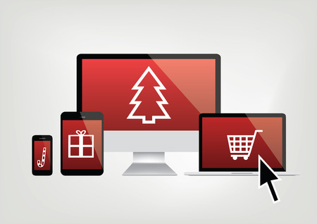 Computer, phone, laptop screens with christmas shopping icons and mouse arrow Illustration