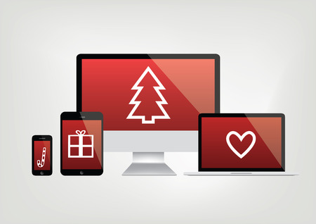 caddy: modern computer screens, notebook, phone, laptop displays - red screen with christmas icons - vector graphic Illustration