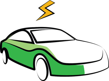 modern electric car silhouette. electric car vector illustration - electricity flash symbol