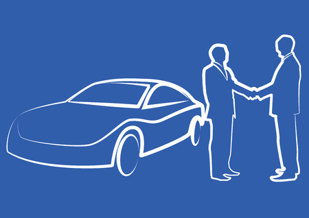 for rental: two businessmen shaking hands in front of a car - illustration , vector