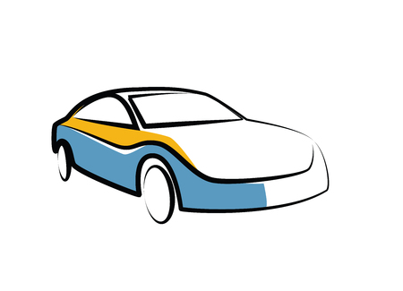 stock clip art: simple drawing of a modern sports car - auto sketch