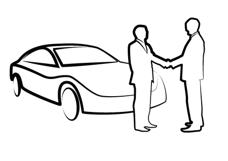 two businessmen shaking hands in front of a car - illustration , vector