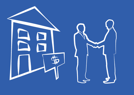 housing market: Silhouette of two businessmen shaking hands in front of house