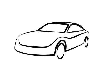 Line Drawing Car : Simple drawing of a modern sports car auto sketch royalty free