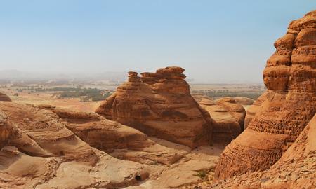 wasteland: red mountain landscape - desert wasteland canyon Stock Photo