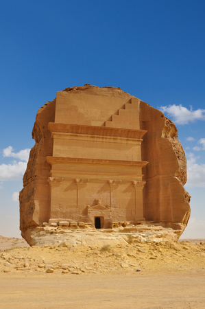Qasr al Farid, biggest tomb in Archeological site Mada'in Saleh, saudi arabia