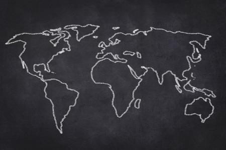 world map drawing on black chalkboard illustration