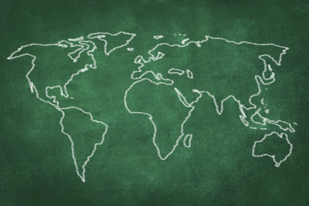 green chalkboard: world map drawing on green chalkboard illustration Stock Photo