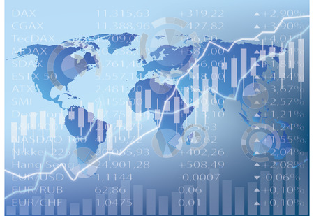 currencies: stock chart illustration, world map, figures and graph Illustration