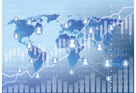 globally: Social Media Icons on stock market chart illustration