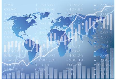 Grafico azionario illustrazione, mappa del mondo, figure e grafici Archivio Fotografico - 48068094