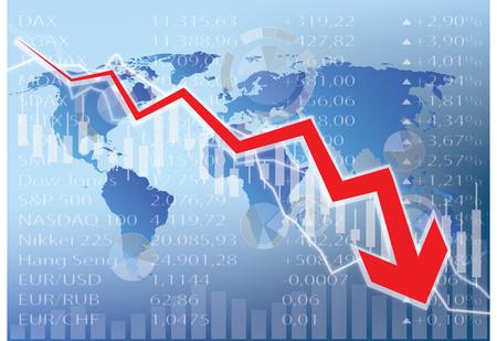 stock market crash: stock market crash illustration - red arrow down