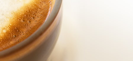 coffee milk closeup - milk cream - espresso macchiato Stock Photo