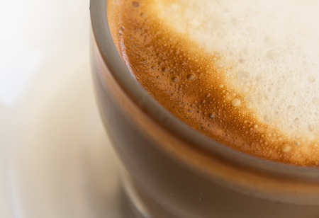 cortado: coffee milk closeup - milk foam Stock Photo