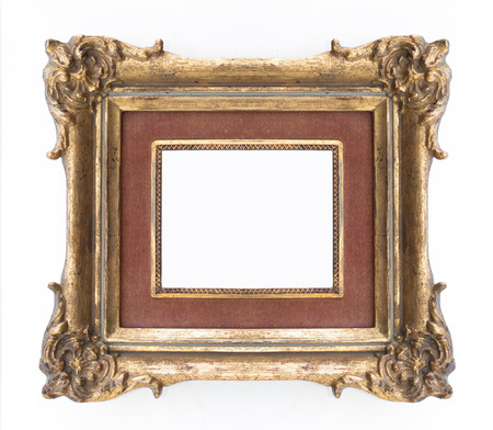 gold picture frame: decorative golden frame - ornate frame , classical Stock Photo