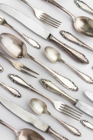 silver flatware: old fancy cutlery - setrling silver flatware pattern