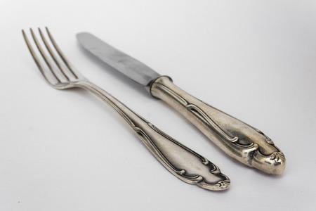 silver flatware: beautiful knife and fork - sterling cutlery, silver flatware set