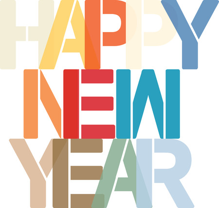 Happy New Year - colorful text Standard-Bild