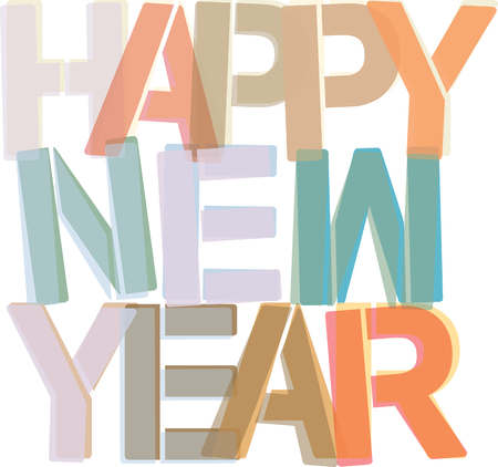 nye: Happy New Year - colorful text Stock Photo
