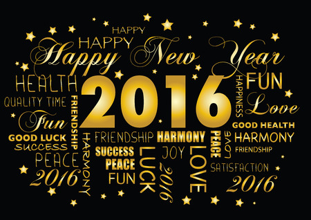 happy new year: Happy New year 2016 greeting card - tagcloud Illustration