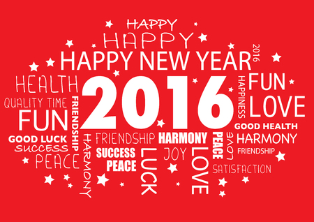 tagcloud: Happy New year 2016 greeting card - tagcloud Illustration