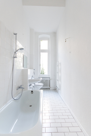 renovated: renovated white bathroom, fresh  painted Stock Photo
