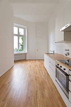 renovated: empty kitchen, fresh renovated flat Stock Photo