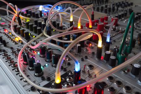 analog synthesizer - blinking lights on music equipment