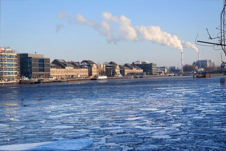 ice sheet: iced river spree, berlin kreuzberg during winter