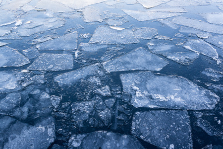 ice floes: iced river, iced water - ice floes on water closeup