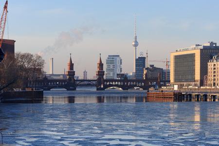 ice sheet: Berlin skyline during winter - kreuberg, tv tower, oberbaum bridge