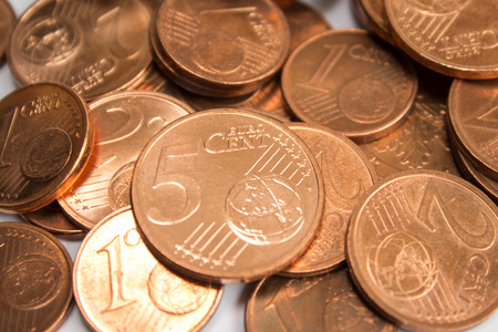 five cents: Euro cent coins closeup - pile of euro cent coins - macro