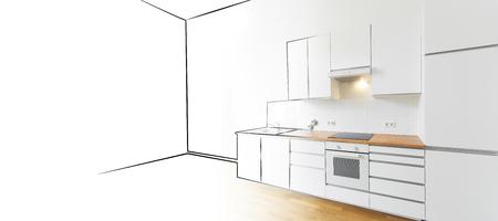 modern kitchen: interior design concept - modern kitchen sketch and photo
