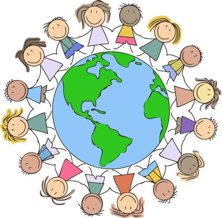 kids illustration - children drawing - kids holding hands on world