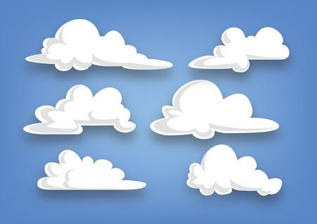 nubes caricatura: colección de dibujos animados estilo de la nube, un conjunto de nubes, ilustración