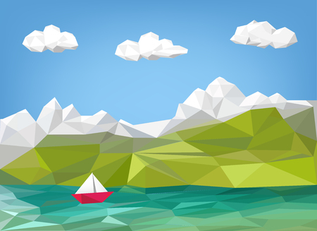 sailingboat: landscape illustration - mountain, lake and sailing boat low poly graphic - vacation background