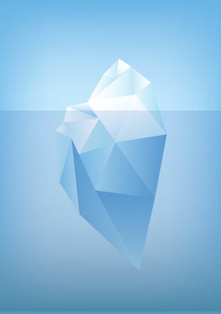 topje van de ijsberg illustratie -Low poly veelhoek grafische Stock Illustratie