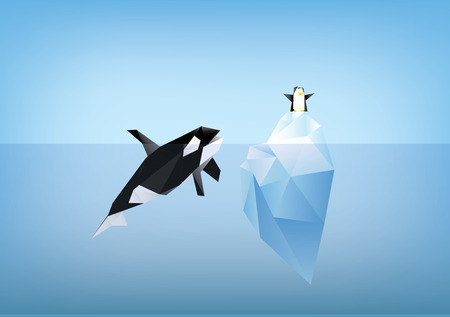 orca: orca whale looking at penguin sitting on iceberg illustration, low poly polygon