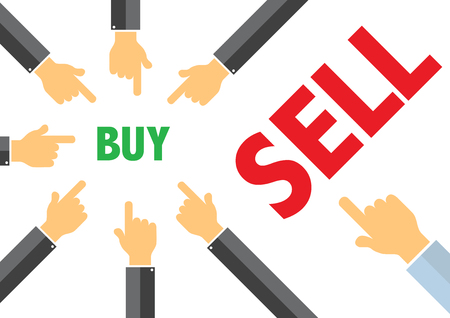sell: sell, buy - buying selling concept