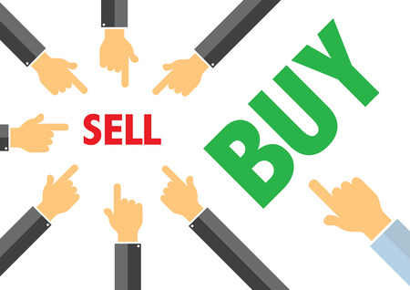 contradiction: sell, buy - buying selling concept