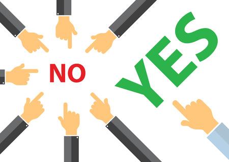 예 또는 아니오 동료 압력 개념 - 생각이 다른 개념 일러스트