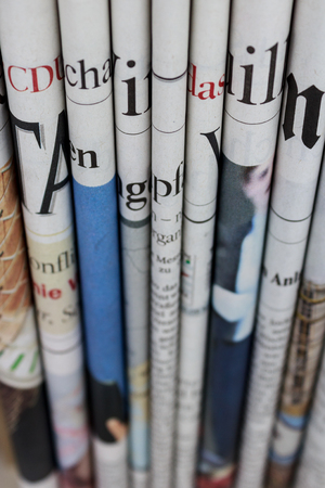 newspaper stack: Pile of  newspapers, stack of newspaper