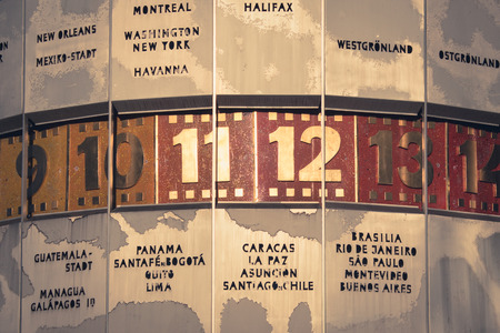 timezone: world clock closeup, berlin alexanderplatz - vintage style